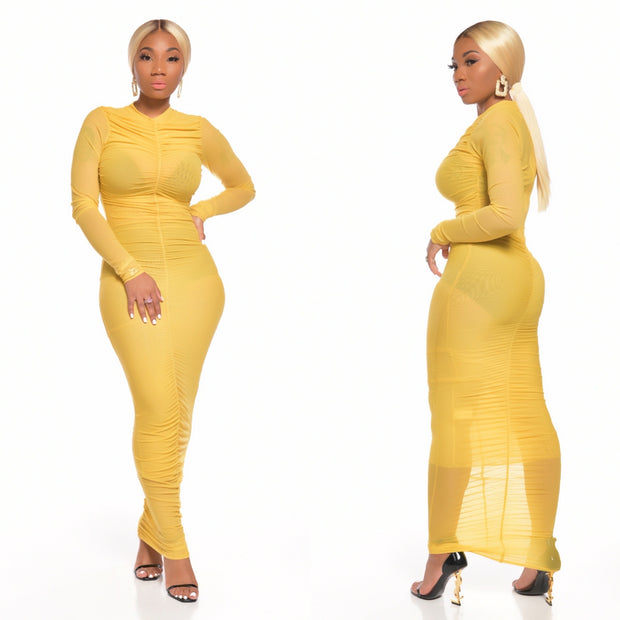 ANGELINA DRESS (MUSTARD)