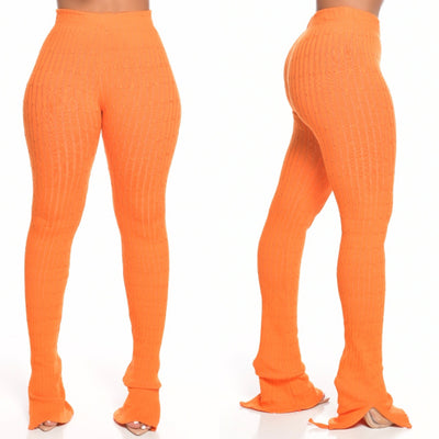 Ribbed knit PANTS (SWEET POTATO)