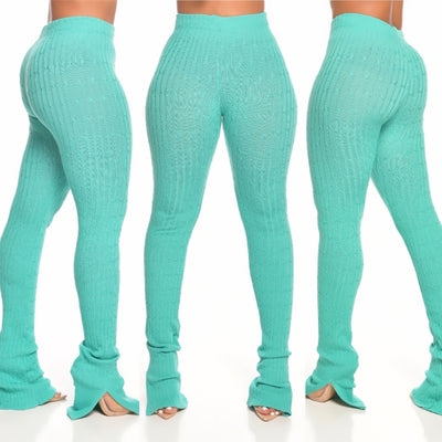 Ribbed knit PANTS (WATER GREEN)