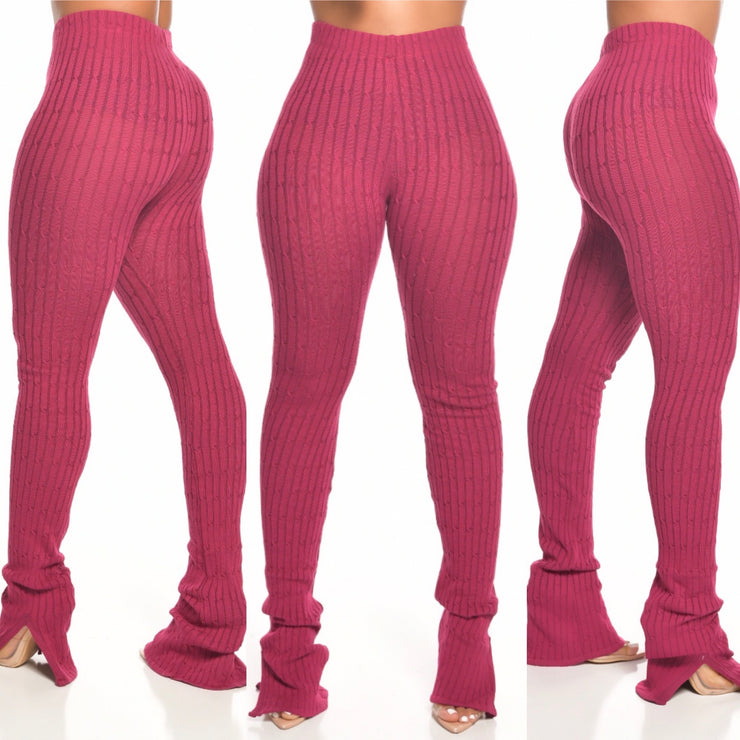 Ribbed knit PANTS (BERRY PIE)