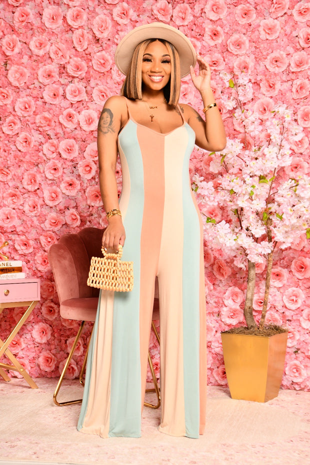 SUGAR SWEET JUMPSUIT (BEIGE,BLUE,LT CORAL)