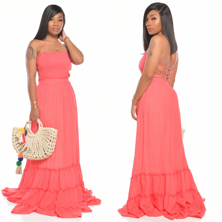 NATIA DRESS CORAL