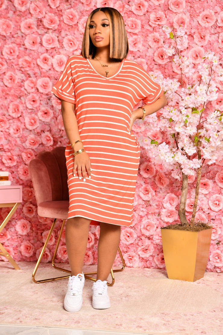 SUMMER STRIPES DRESS ORANGE