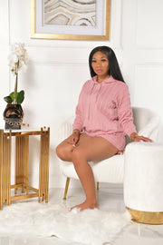 SWEATER SHORTS SET -PINK