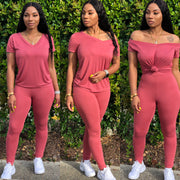 V NECK PANTS SET