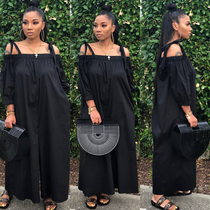 POPLIN OFF SHOULDER JUMPSUIT