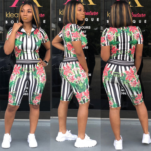 Stripe Floral Short Set