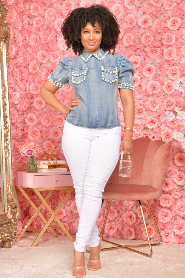 DENIM and PEARLS TOP (LIGHT)