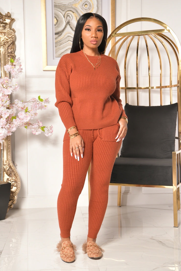 COMFY SWEATER SET (BRICK)