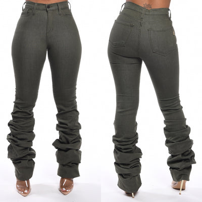 Olive Tiered Denim Jeans