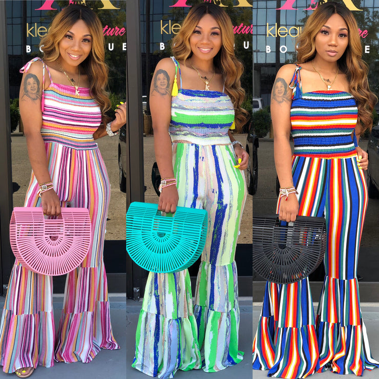 STRIPED SMOCKED BELL JUMPSUITS