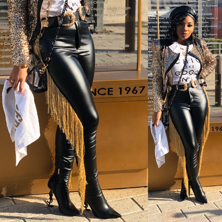 Faux Leather Shimmy Pants