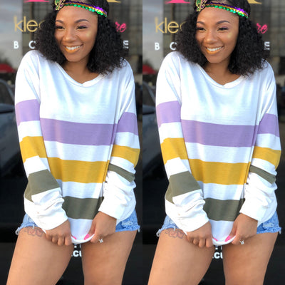 Mardi Gras Striped Sweatshirt