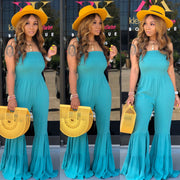 SOLID SMOCKED BELL JUMPSUIT