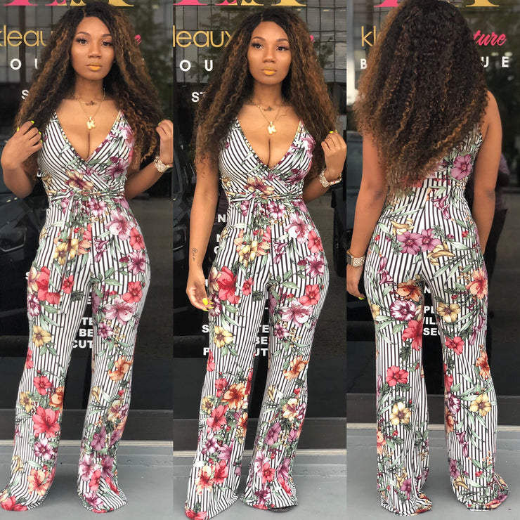 Floral Stripes Jumpsuit