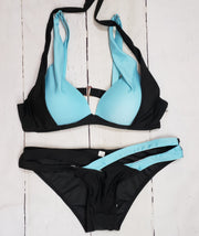Ladies Swim Blue and Black Top