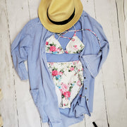 Ladies White Floral Swim Top