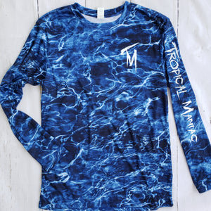 Tropical Maniac Blue Wave Camo Long Sleeve Performance Crew Neck