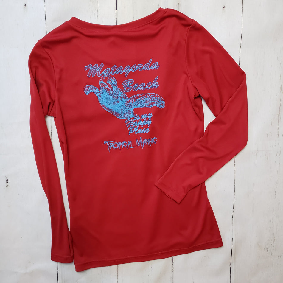 Happy Place Turtle Ladies Performance V Neck