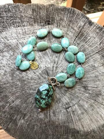 Green Adventurine Teal And Black Necklace