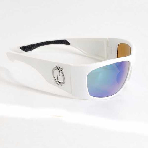 Redtail Republic Laguna White/Green Mirror Amber Glass UV Polarized Unisex Fishing Sunglasses