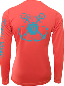 Ladies Tropical Maniac Cross Anchor Long Sleeve Performance V-Neck
