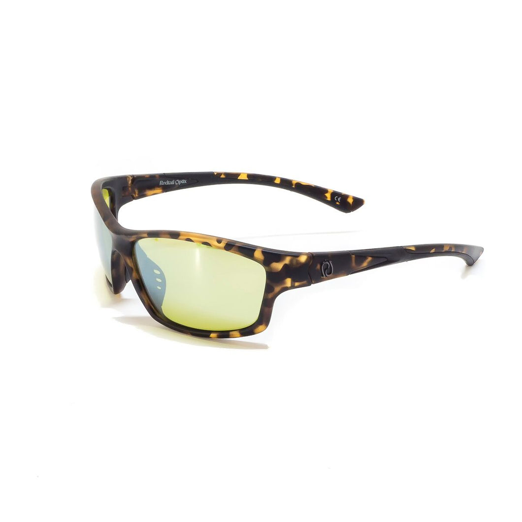 Redtail Republic Sabine Matte Tortoise/Silver Mirror Yellow Glass UV Polarized Unisex Fishing Sunglasses
