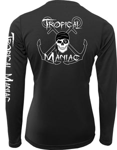 Ladies Tropical Maniac Pirate Cross Anchor Long Sleeve Performance V-Neck