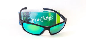 Redtail Republic Sabine Matte Black/Green Mirror Amber Glass UV Polarized Unisex Fishing Sunglasses