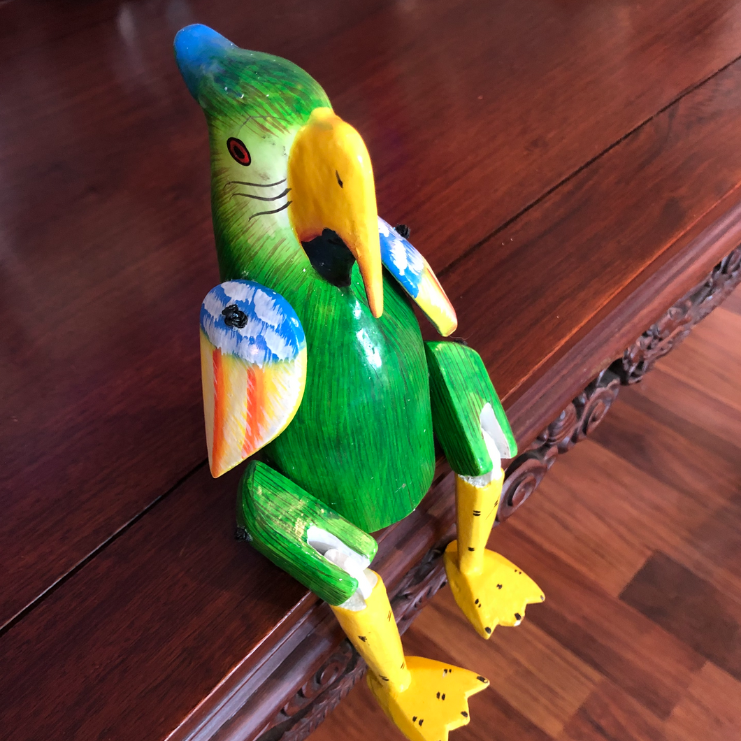 Handmade Wooden Parrot Shelf Art