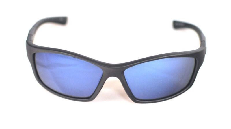 Redtail Republic Sabine Matte Black/Blue Mirror Grey Glass UV Polarized Unisex Fishing Sunglasses