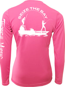 "Ladies Tropical Maniac ""Seize the Bay"" Long Sleeve Performance V-Neck"
