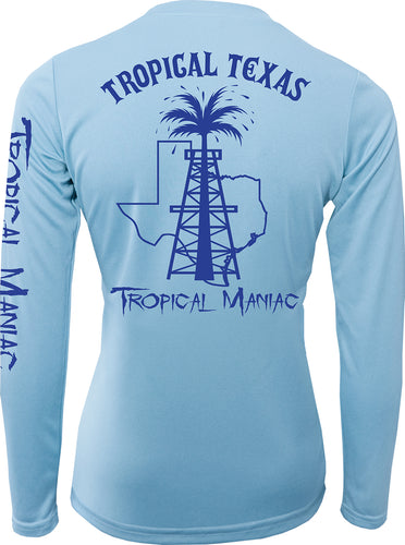 Ladies Tropical Texas Rig Long Sleeve Performance V-Neck