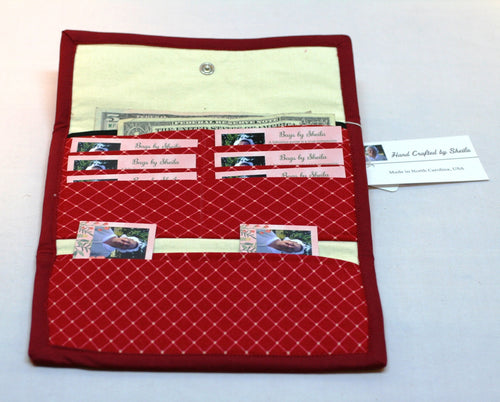 Women's Wallet Chenille Card Holder Check Book Holder Hand Crafted in USA NEW - Sheila Antell