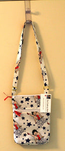 Betty Boop Cross Body Bag Cotton Exterior Hand Crafted in USA Adjustable Strap - Sheila Antell