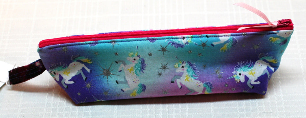 Unicorns Stars 100% Cotton Pencil Pouch Makeup Bag Hand Made in U.S.A NEW w tags - Sheila Antell