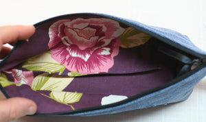 Denim Hearts 100% Cotton Pencil Pouch Makeup Bag Hand Made in U.S.A NEW w tags - Sheila Antell