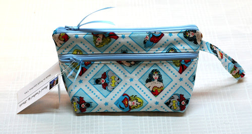 Wristlet Hand Bag Super Heroes Zippered Closure & Outer Pocket Hand Made in USA - Sheila Antell