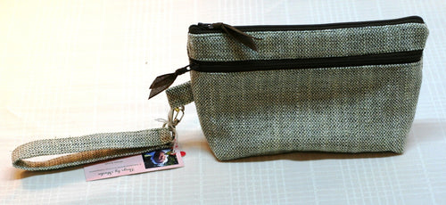 Wristlet Hand Bag Gray Tweed Zippered Closure & Outer Pocket Hand Made in USA - Sheila Antell