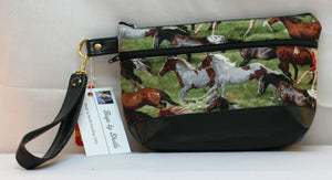 Wristlet Hand Bag Wild Horses Zippered Closure & Outer Pocket Hand Made in USA - Sheila Antell