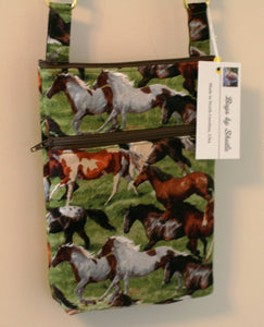 Wild Horses Cross Body Bag 100% Cotton Hand Crafted in USA Adjustable Strap NEW - Sheila Antell
