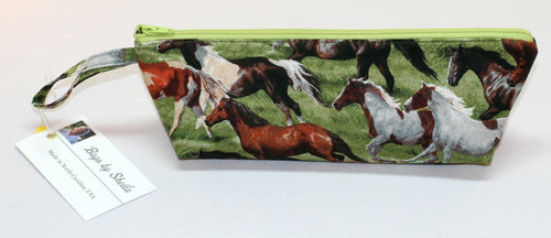 Wild Horses 100% Cotton Pencil Pouch Makeup Bag Hand Made in U.S.A NEW w tags - Sheila Antell
