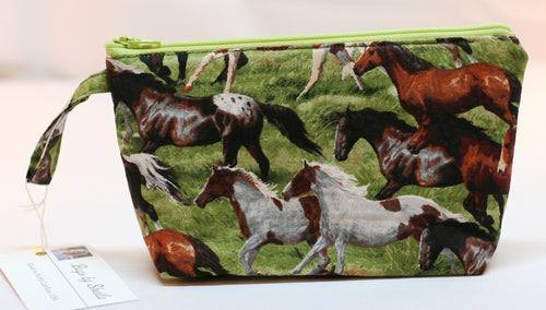 Women's Zippered Pouch Handbag Makeup Wild Horses 100% Cotton Handmade in USA - Sheila Antell