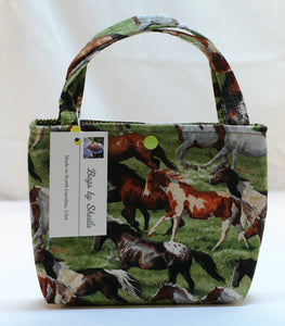 Snap Tote Hand Bag Child Age 7+ Wild Horses 2 Slip Pockets Handmade in USA NEW - Sheila Antell