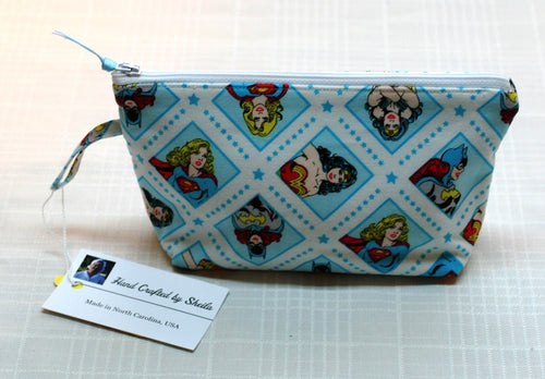 Women's Zippered Pouch Handbag Super Girl Bat Girl Wonder Woman Handmade in USA - Sheila Antell