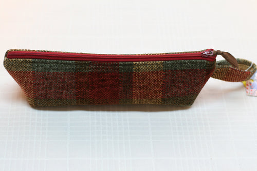Plaid Upholstrey Fabric Pencil Pouch Makeup Bag Hand Made in U.S.A NEW w tags - Sheila Antell