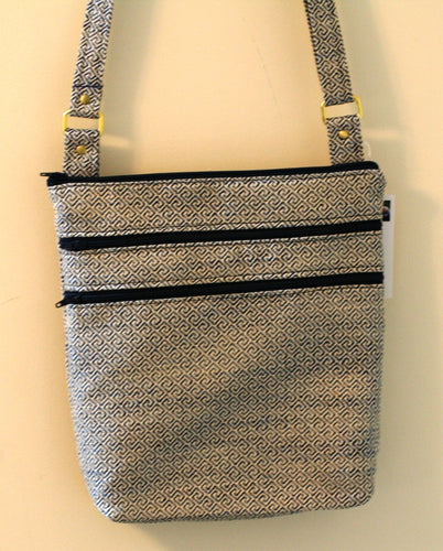 Cross Body Bag w 2 Outer & 2 Inner Pockets Adjustable Strap Hand Crafted in USA - Sheila Antell