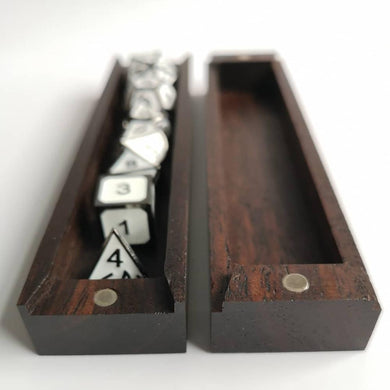 Dice Box 7-Die Set w/ Magnets Wooden Case Dice Tray