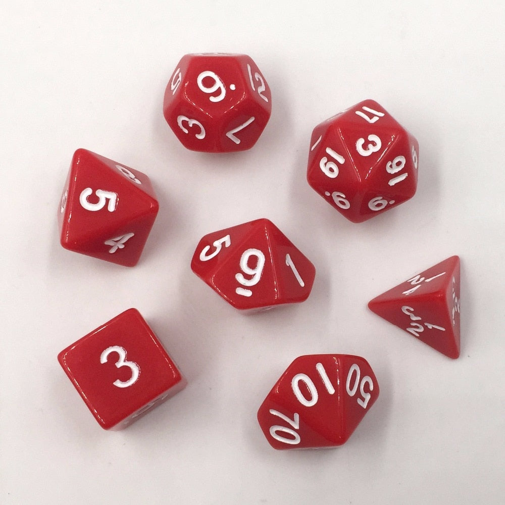 Opaque Red Dice 7pc/set Polyhedral Dice Rpg Dice  Red