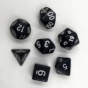Opaque Black Dice 7pc/set Polyhedral Dice Rpg Dice